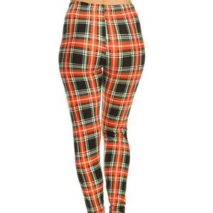 always Pants - 2/$26 3/$36 Orange green plaid leggings sle461
